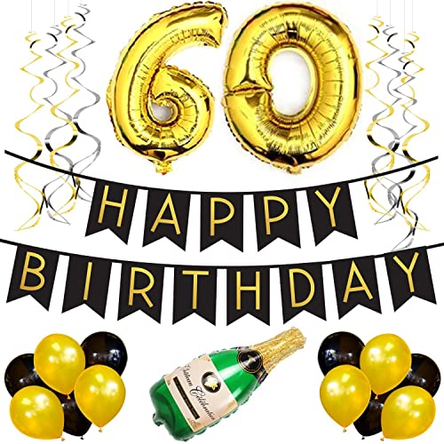 60th Birthday Party Pack Black Gold Happy Bunting
