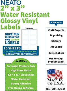 """Neato High Gloss Vinyl Labels – Inkjet Printer Compatible Label Sheets - 2""""x3"""" Labels - 10 Sheets - 80 Total Stickers - Includes Design Software"""