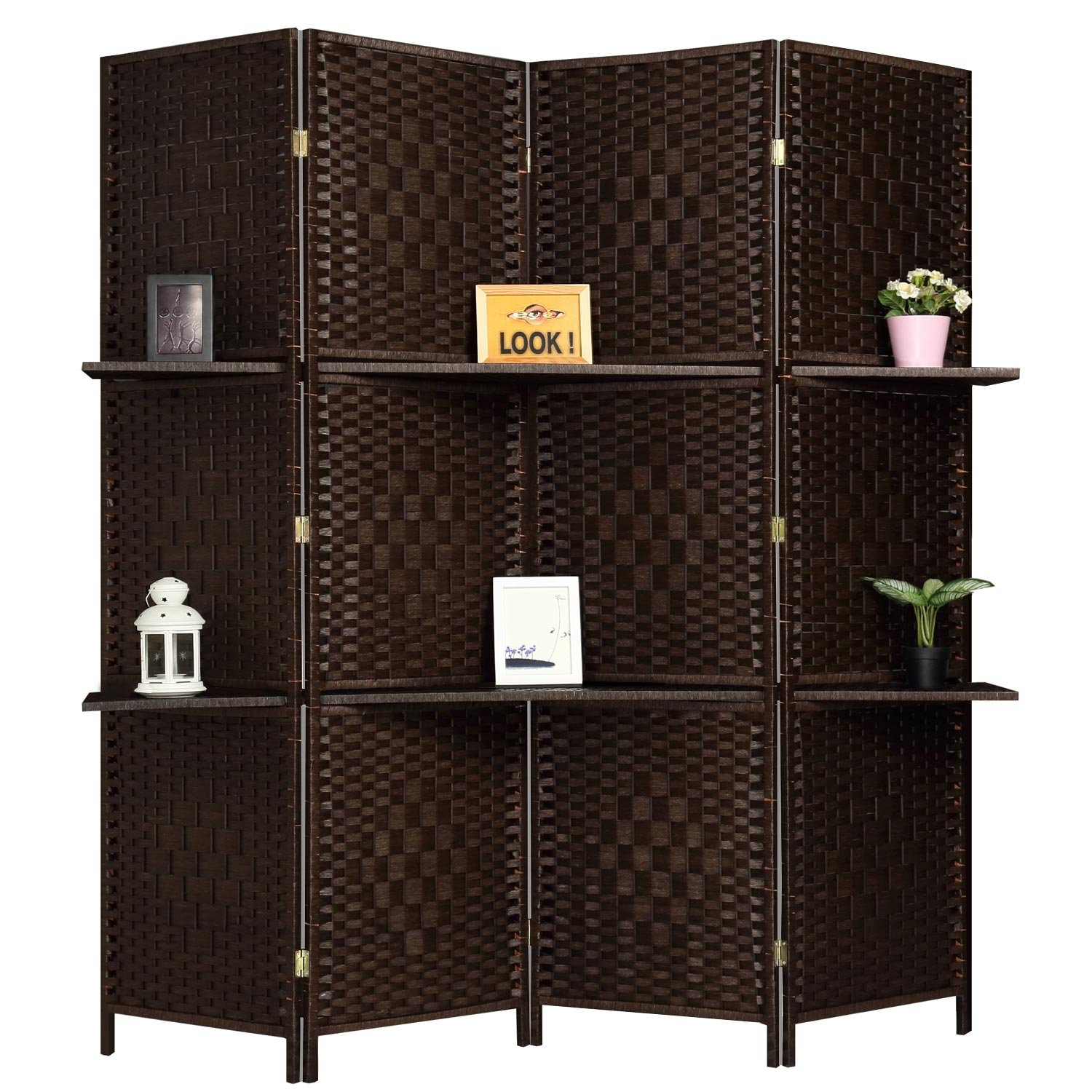 Amazon Com Rhf 6 Ft Tall Extra Wide Diamond Room Divider Wall Divider Room Dividers And Folding Privacy Screens Partition Wall With 2 Display Shelves Room Divider With Shelves Darkmocha 4 Panels 2 Shelves Furniture Decor