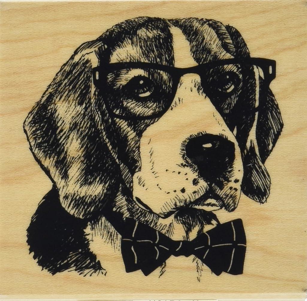 Inkadinkado Nerdy Dog Wood Stamp for Scrapbooking, 3'' L x 3'' W