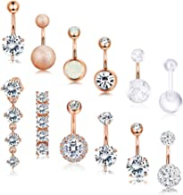 Subiceto 12 PCS 14G Belly Button Ring for Women Girls Stainless Steel CZ Navel Ring Barbell Body Piercing
