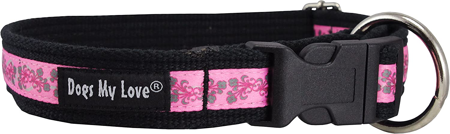 Cotton Web Adjustable Dog Collar 2 Sizes Medium to XXLarge, Pink Flowers Pattern (Medium Large  14 20 )