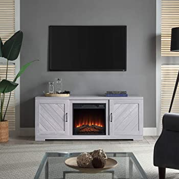 """BELLEZE Hilo 58 Inch Fireplace TV Stand Console with Remote Control for TVs Up to 65"""", Stone Grey"""