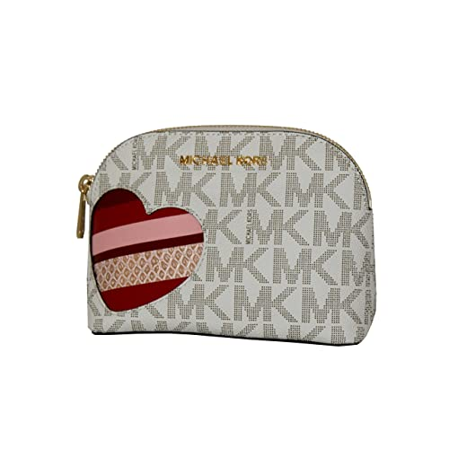38dc698e7184 MICHAEL Michael Kors Women's CINDY HEARTS Travel Pouch Make up Case Bag  (Vanilla/gold