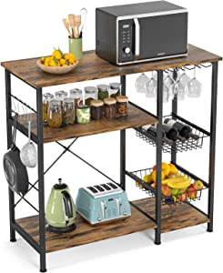 Ecoprsio Bakers Rack, Utility Microwave Stands Storage for Spice, 4-Tier+3-Tier Coffee Bar Cabinet with Wine Glass Holder, 5 Hooks, Rustic Brown