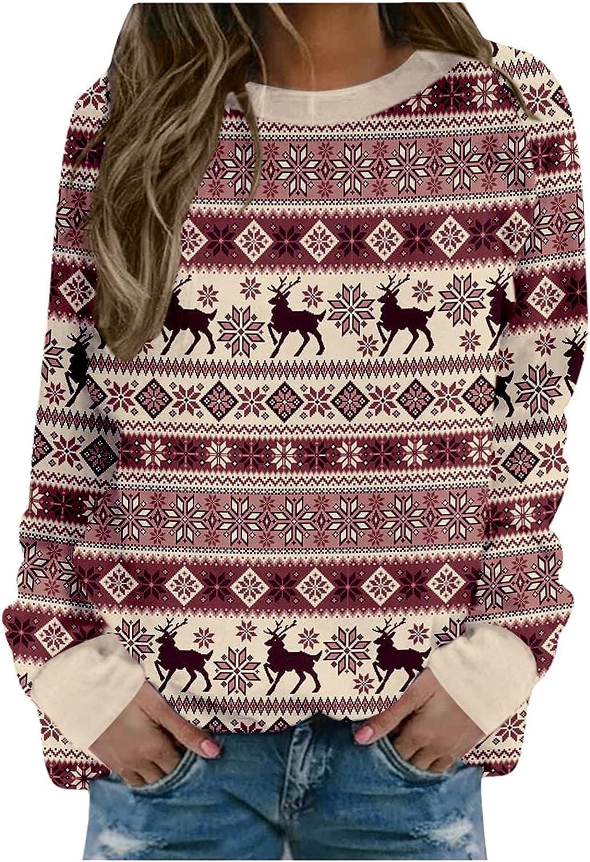 Womens Christmas Sweatshirt Crewneck Comfy Loose Long Sleeve Graphic Top, pullover sweatshirts for women plus size