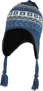 Wool Winter Knit Peruvian Beanie Hat w/Sherpa Fleece Lining – Fair Isle Ski Cap