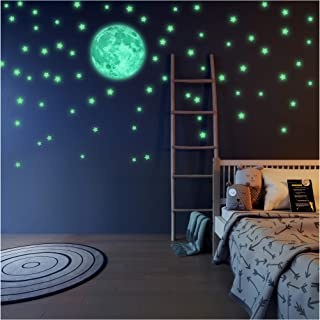 Glow in The Dark Stars and Free Removable Full Moon Wall Stickers 220 adhesive Glowing Star Beautiful Wall Decals for Bedr...