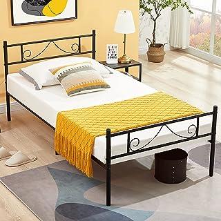 Aingoo Lit Simple en Métal Design Lit 1 Place Cadre de Lit Une Personne avec Lamelles Solides et Structure Métallique Enfa...