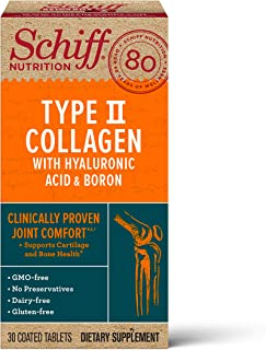 Type II Collagen, Hyaluronic Acid & Boron Joint Health Tablets, Schiff (30 count in a bottle) Clinically Proven Joint Comf...