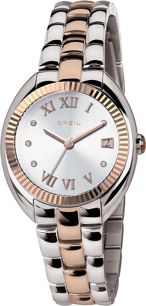 Orologio breil per donna,in acciaio lucido con inserti in ip rose TW1588