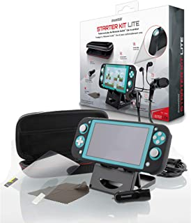 dreamGEAR Starter Kit Lite - Accessories Kit - Compatible with Nintendo Switch Lite - 8 In 1 Bundle - Carrying Case - Screen Protector - Ergonomic Grip Case - Earbud with Mic - Adjustable Stand - More