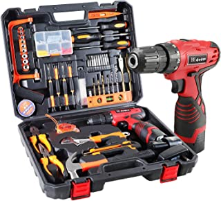 Dedeo Cordless Hammer Drill Tool Kit, 60Pcs Household Power Tools Drill Set with 16.8V Lithium Driver Claw Hammer Wrenches...