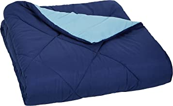 AmazonBasics Reversible Microfiber Comforter - Single/Single Large, Navy Blue