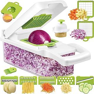 Gelrova Mandoline de Cuisine Multifonctions 12Pcs Coupe,Trancheur de Légumes, Hachoir de Graterie de Cuisine Multifonction...