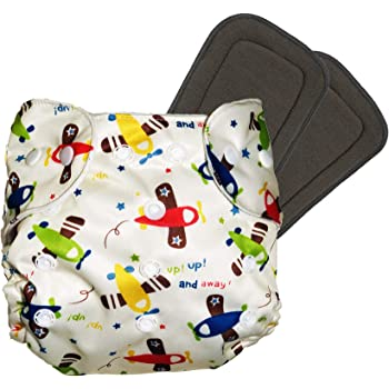 LILTOES® Baby's All in One Washable Reusable Adjustable Cloth Diapers with 5 Layer Bamboo Charcoal Insert (Aeroplane) (Set of 3)