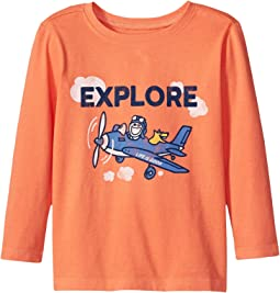 Life is Good Kids - Explore Plane Long Sleeve Crusher Tee (Toddler)