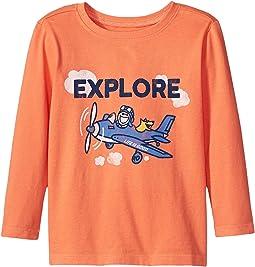 Life is Good Kids - Explore Plane Long Sleeve Crusher Tee (Toddler)