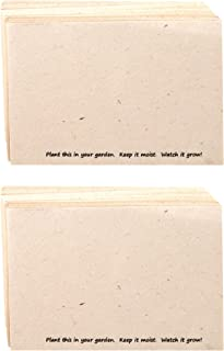 Handmade Seeded Plantable Recycled Note Paper 100 Sheets Each 6 x 4 Inches (2-Pack)