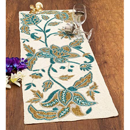 Amazon Com Cotton Craft Mesa Jacquelina Handmade Beaded Table Runner Ivory Blue And Gold Floral 16 X 54 Inch Home Kitchen