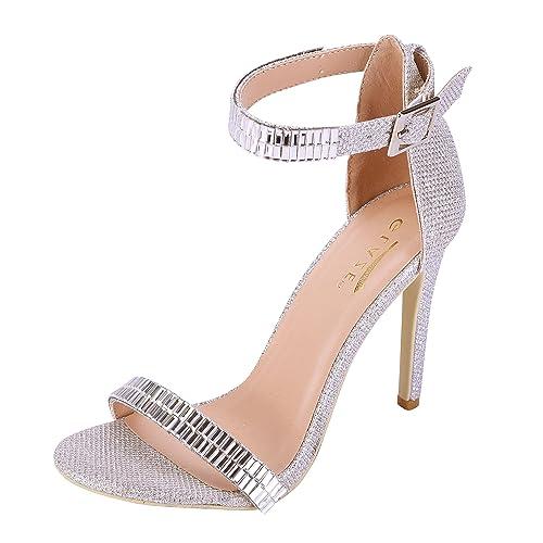 27abaa2f3008 Glaze Women s Stiletto Jewel Plated High Heel Ankle Strap Dress Sandals -  Open Toe Strappy Heels