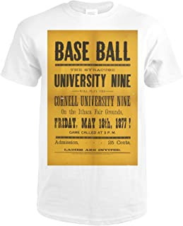 Base Ball - Syracuse University and Cornell University Vintage Poster USA c. 1877 63836 (Premium White T-Shirt X-Large)