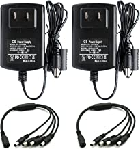 ANVISION 2-Pack AC to DC 12V 2A Power Supply with 1 to 4 Splitter Cable, Plug 5.5mm x 2.1mm for Led Light Strips NVR DVR Camera, Efficiency Level VI, UL Listed