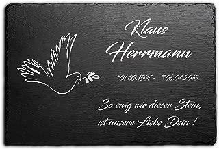 Grabstein Gedenkstein Urnengrabstei Schiefer Grabplatte Gravur Mensch 30 x 20 cm