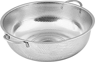 Stainless Steel Colander - Micro-Perforated Strainer - Strain Pasta Noodles Orzo Vegetables Fruits and More - by Utopia Kitchen