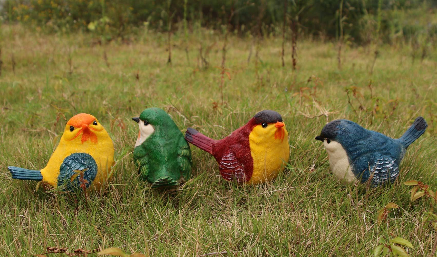 Homerry - Juego de 4 estatuas de jardín de polirresina para pollos o pájaros de gorrión, decoración para jardín, patio, porche, patio: Amazon.es: Jardín