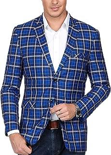 Men's Casual Plaid Blazer Coat Slim Fit Notch Lapel Suit Jacket