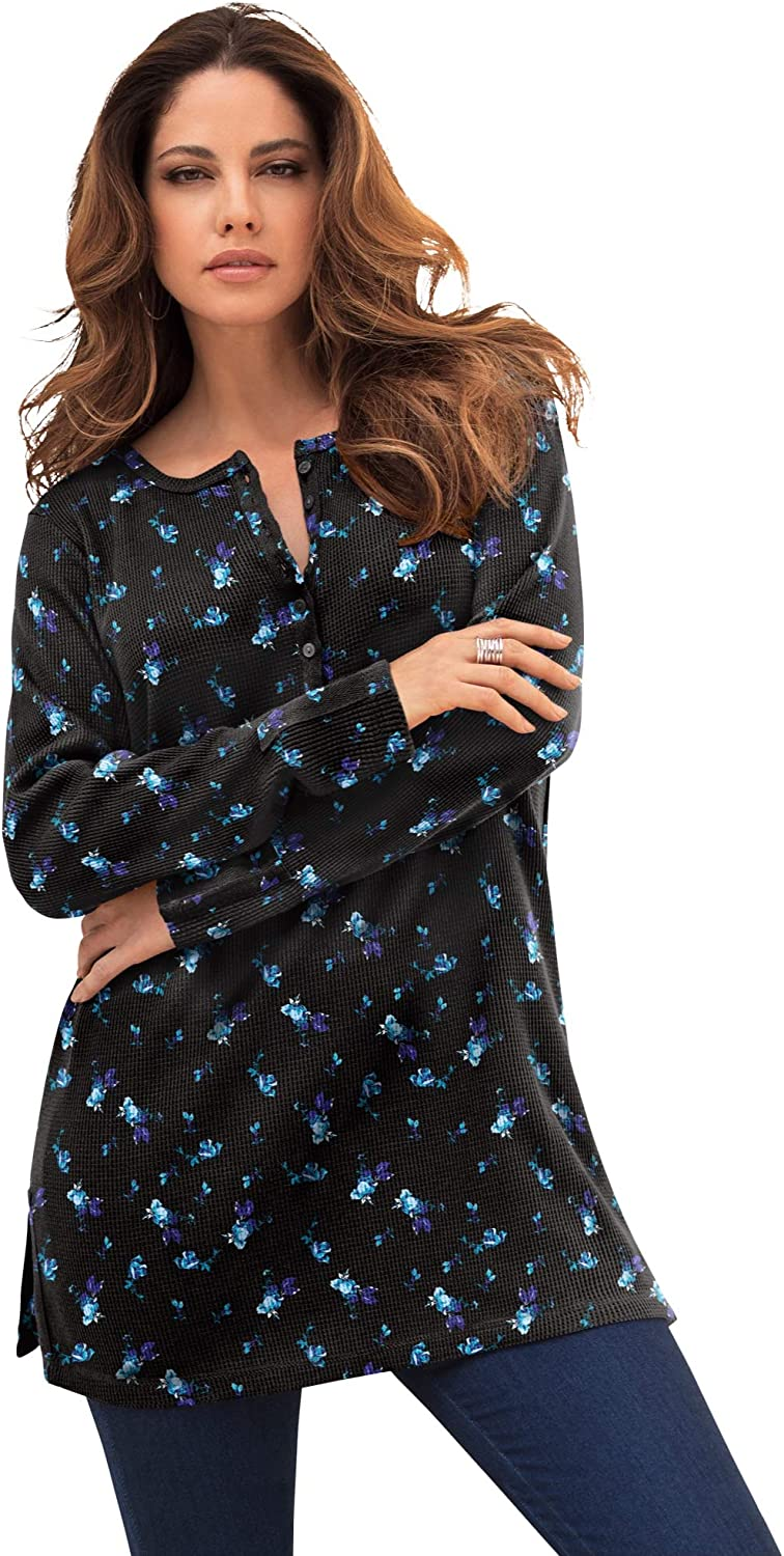 Roaman's Women's Plus Size Thermal Waffle Henley Tunic Long Sleeve Shirt - 4X, Black Pretty Floral Multicolored
