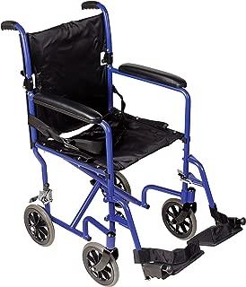 DMI Ultra Lightweight Folding Transport Chair Travel Wheelchair, Royal Blue