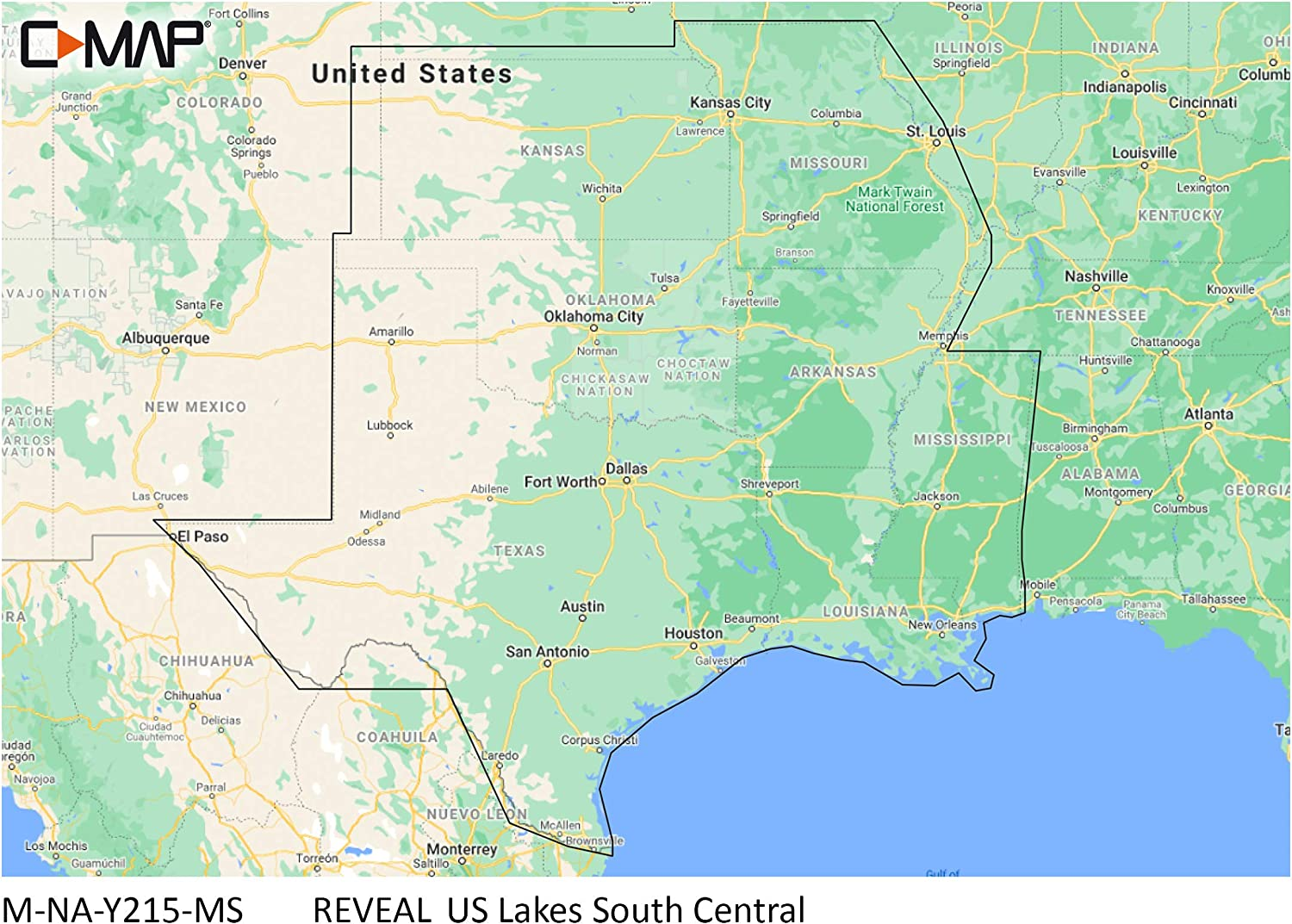 C-MAP Reveal Lakes - US Lakes South Central, Map Card for Marine GPS Navigation