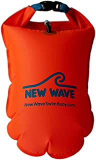 New Wave Swim Buoy for Open Water Swimmers and Triathletes - Light and Visible Float for Safe Training and Racing - Nylon TPU
