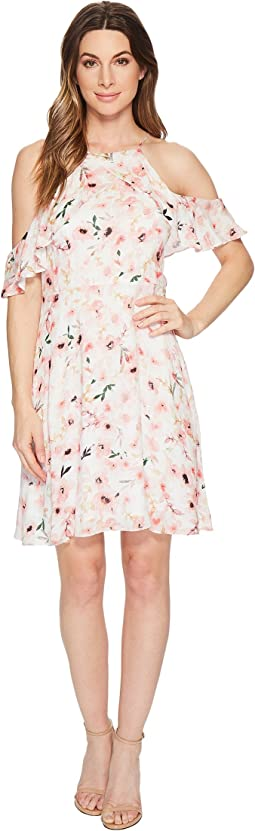 CeCe Arden - Cold Shoulder Ruffle Floral Dress