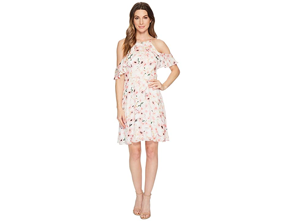 cedb6bdfdce5 CeCe Arden Cold Shoulder Ruffle Floral Dress (Ultra White) Women
