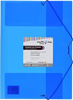 Grafoplás 04801830?Pack de 6 carpetas con gomas Multiline, tamaño folio, color azul