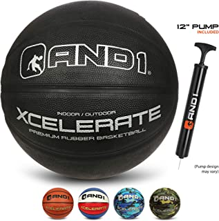 AND1 Xcelerate Rubber Basketball (Inflated) OR (Deflated w/Pump Included): Official Regulation Size 7 (29.5�) Streetball, Made for Indoor and Outdoor Basketball Games