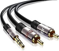 IBRA® 0.5m - Cable 3.5mm de Audio Estéreo Macho a 2 RCA Macho con Conector Pequeño de Metal | para iPhone6,5S,5, 4S y 4, iPod, iPhone y Samsung | 0.5 Metros / Gun Metal