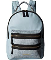 Rampage - Mixed Media Midi Backpack with Exposed Zipper