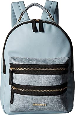 Mixed Media Midi Backpack with Exposed Zipper