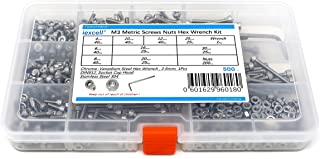 iExcell 500 Pcs M3 Stainless Steel 304 Hex Socket Head Cap Screws Nuts Hex Key Wrench Kit