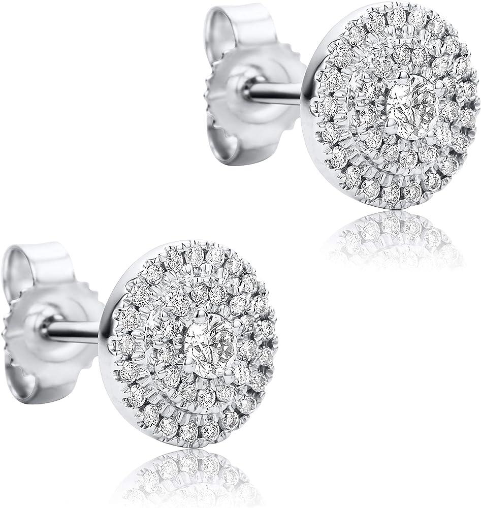 Orovi - orecchini da donna con pavé di diamanti in oro bianco 9 carati (375) (1.60 gr) OR9071E