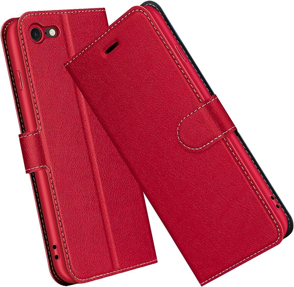 elesnow custodia in pelle sintetica per apple iphone se 2020 / iphone 8/7 ?yce_iphone7/8_red