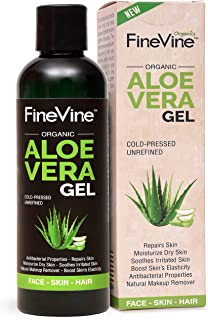 Best Aloe Vera Gel - Made in USA - for Skin Burn, Sunburn, Acne, Razor Bumps, Psoriasis, Eczema, Face and Hair - Absorbs Fast with No Sticky Residue.