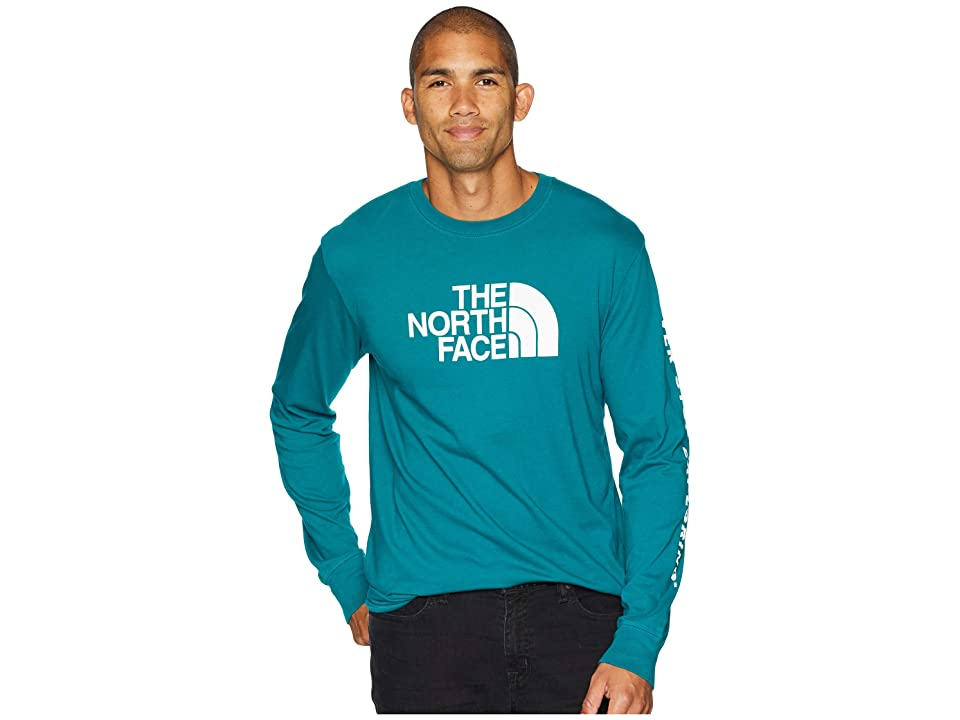 The North Face Long Sleeve Well-Loved 1/2 Dome Tee (Everglade) Men