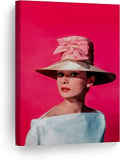 Smile Art Design Audrey Hepburn Wall Art Canvas Print Pretty Hat with Ribbon Pink Background Iconic Decoration Home Decor Made in The USA 40x30