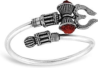 MEENAZ Rudraksha Trishul Damroo Designer Oxidized Silver Bahubali Kada Kadas Bracelet Unisex Cuff Bracelets for Men & Women Boys Bracelet-m-M105