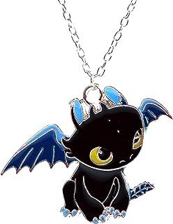 Cómo entrenar a tu dragón - Collar Colgante Night Fury desdentada en esmalte negro - Cartoon